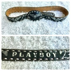 Accessories - Black Cowhide leather eagle playboy belt
